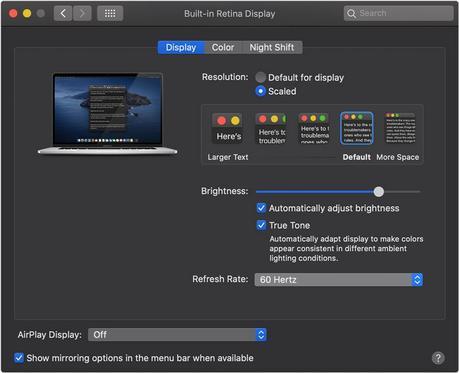 Le MacBook Pro 16 Pouces peut faire varier le taux de rafraîchissement de son écran