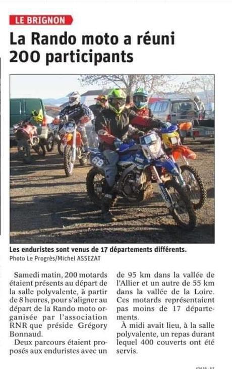 Rando moto à Le Brignon (43), le 15 février 2020