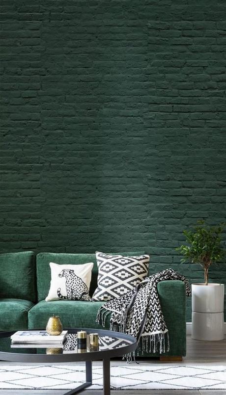 blog déco mur brique vert canapé salon industriel chic élégant