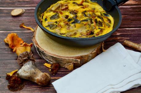 Omelette aux champignons des bois