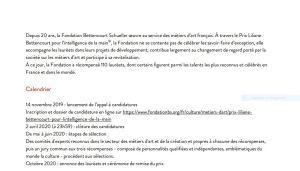 Prix Liliane BETTENCOURT pour l'Intelligence de la main -Appel à candidatures du 14 Novembre au 2 Avril 2020