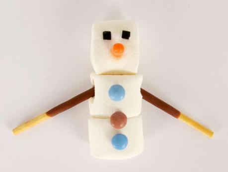 un DIY bonhomme en chamallow pour un anniversaire reine des neiges
