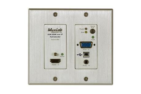Un extendeur HDMI & KVM sur IP en mode plaque murale chez MuxLab