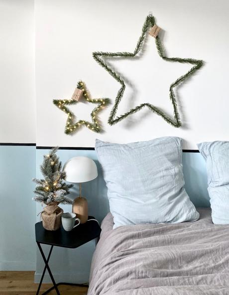 chambre décoration Noël bleu sapin étoile design - blog déco - Clem around the corner