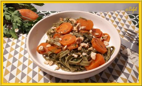 Pâtes aux épinards, carottes et lait de coco