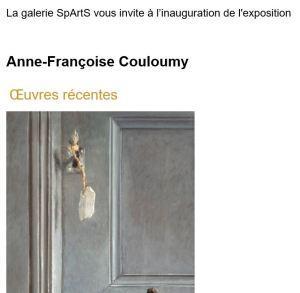 Galerie SPARTS  exposition Anne-Françoise Couloumy  Oeuvres récentes – à partir du 21 11 2019