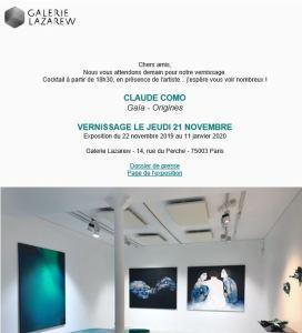 Galerie Lazarew   exposition Claude COMO « Gaia-Origines » 22 Novembre au 11 Janvier 2020