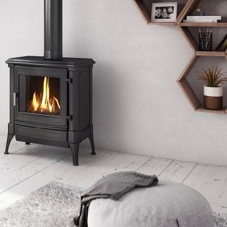 coin cocooning poêle à gaz pouf gris meuble hexagone - clematc