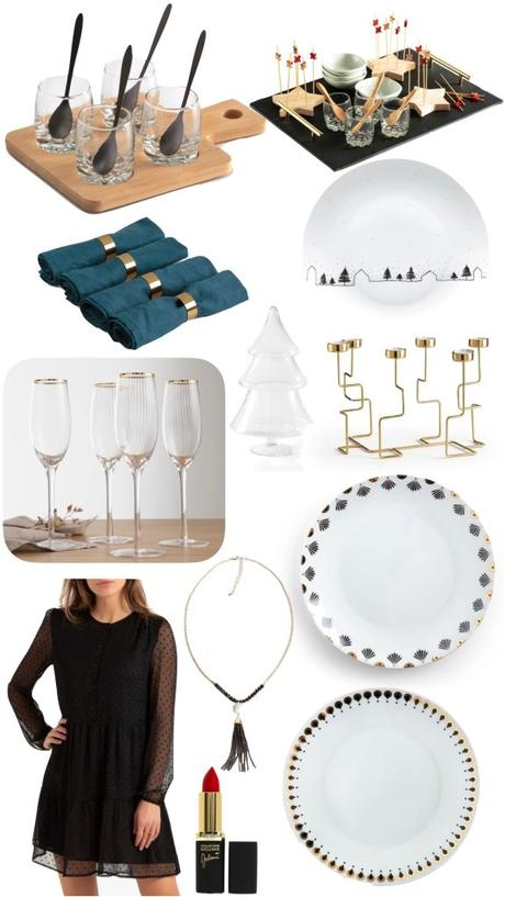 table de noël black friday 2019 assiette doré flute pas cher