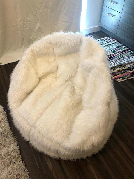 white fur bean bag white company faux fur bean bag