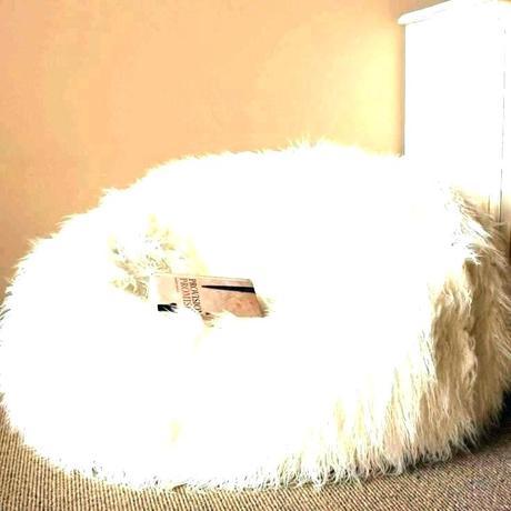 white fur bean bag white faux fur bean bag chair