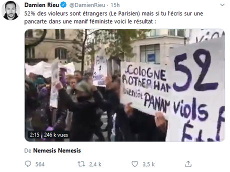 L'agression raciste et xénophobe faite à #NousToutes (par les fachos de #Nemesis)