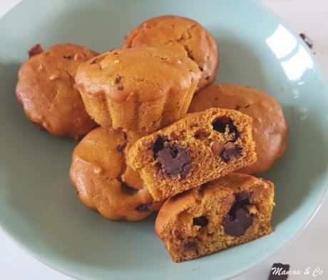 Muffins au potimarron, beurre de cacahuète et chocolat