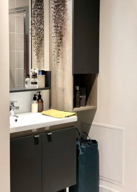 mini petite salle de bain gain de place noire beige gris bois store cogedim