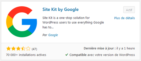 Site Kit par Google (plugin WordPress)