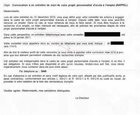 lettre pour changer de conseiller pole emploi