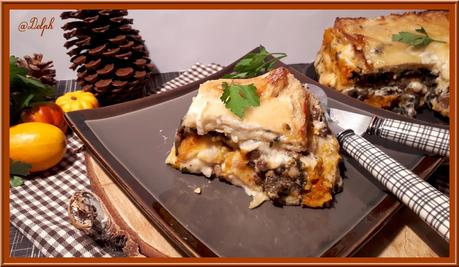 Lasagne au potimarron, champignons et châtaignes