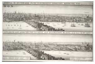 Wenceslas Hollar 1666 B Londres avant et après le Grand Incendie