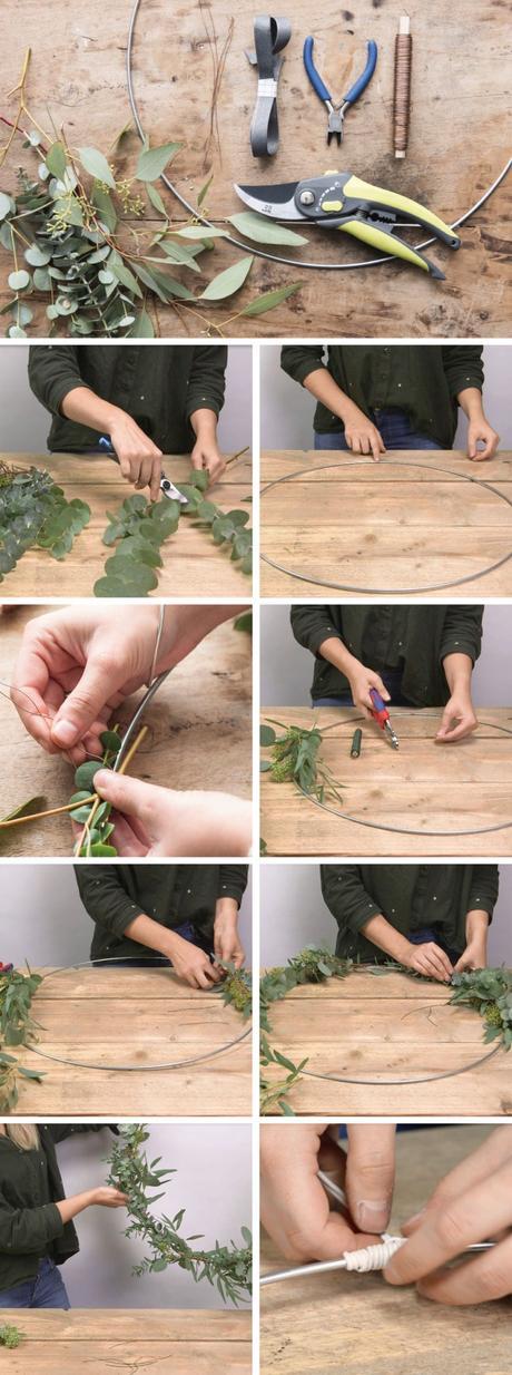 couronne de noël eucalyptus étapes diy tutoriel étapes confection création