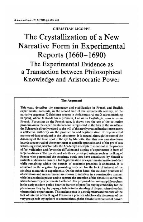 The Crystallization of a New Narrative Form in Experimental ...