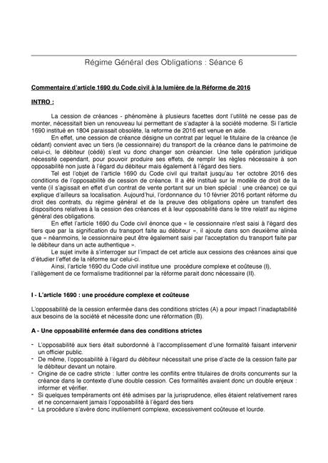Séance 6 - Commentaire d'article 1690 Code civil - - StuDocu