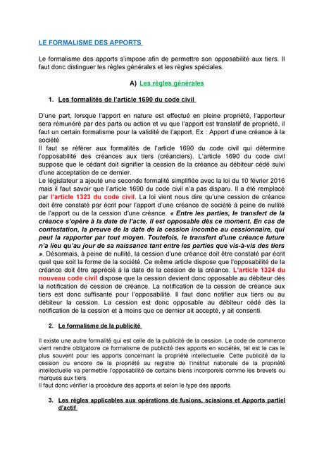 LE Formalisme DES Apports - Droit des sociétés - StuDocu