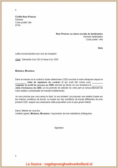 Un Exemple De Lettre De Demande D Emploi - Exemple de Lettre