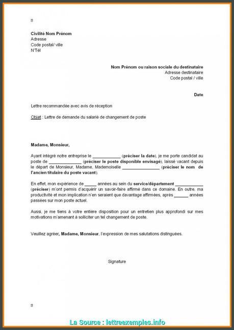 lettre de motivation changement de poste en interne - Modele ...