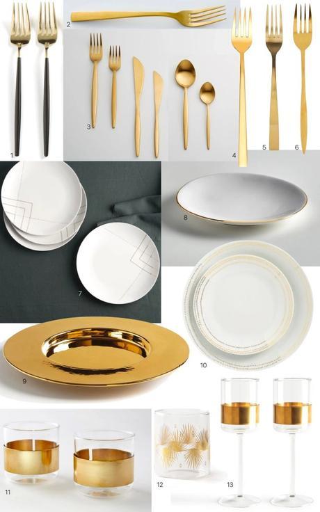 art de la table fourchette assiette or doré pas cher design pour noel
