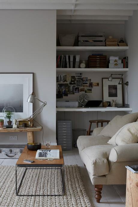 salon déco mélange rustique moderne meuble chiné brocante