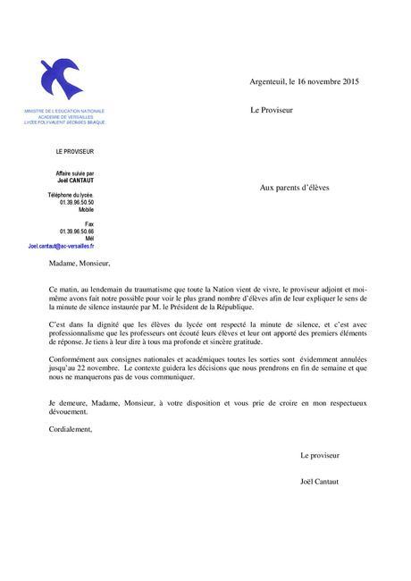 lettre au proviseur - Modele et exemple de lettre