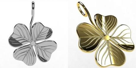 pendentif porte bonheur trefle a 4 feuilles en or