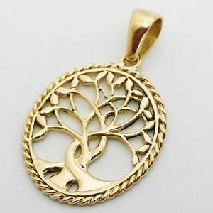 pendentif arbre de vie porte bonheur en or 18 carats