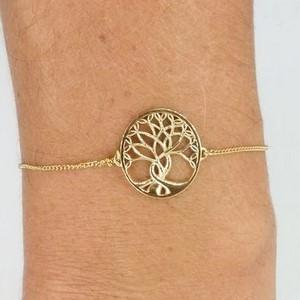 bracelet porte bonheur, arbre de vie en or