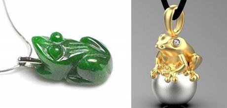 pendentifs grenouille porte bonheur en or et pierre de jade