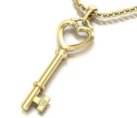 pendentif clé en or