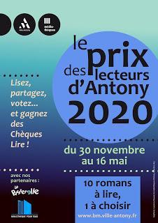 Le Prix 2020 des Lecteurs d'Antony (92) est lancé