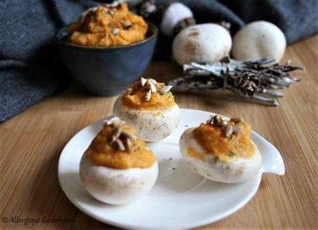 Champignons garnis à la tartinade de courge { sans gluten, sans lait, sans œufs }