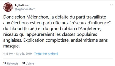 L'explication de Mélenchon sur la défaite de Corbyn est-elle antisémite ?