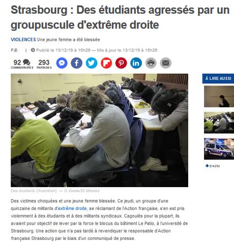 l'Action Française, bras armé du macronisme ? #Strasbourg