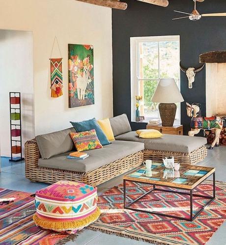 tapis rouge orange salon estivale style ethnique canapé outdoor rotin blog déco