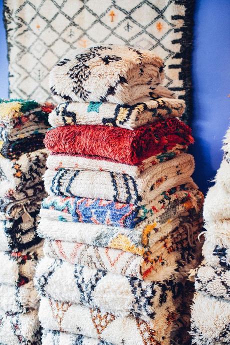 tapis bohémien colorés superposés doux confortable pour salon chambre blog déco