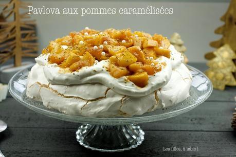 Pavlova aux pommes caramélisées