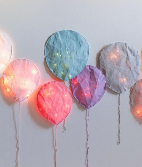 ballon papier luminaire mur blanc déco chambre enfant