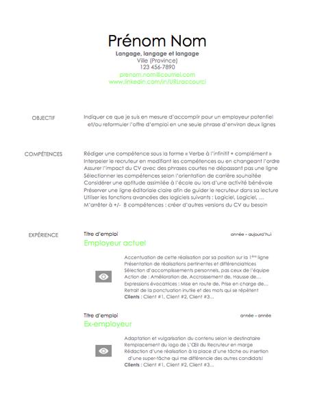 Voici un CV rédigé pour une offre d'emploi standard