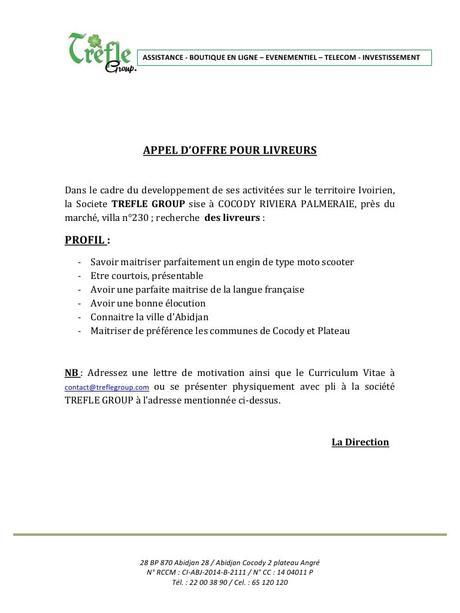Exemple Lettre De Candidature Appel D Offre à Découvrir