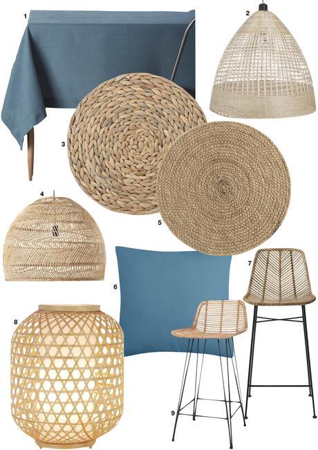 blog déco cuisine scandi bleu pastel lampe osier chaise haute métallique noir