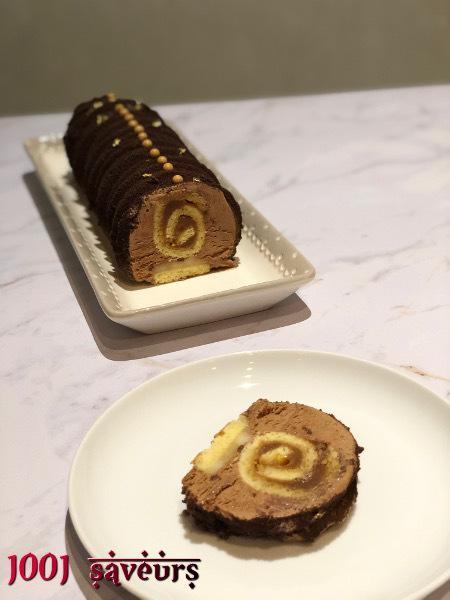 Bûche Tourbillon, chocolat, poire et caramel au beurre salé