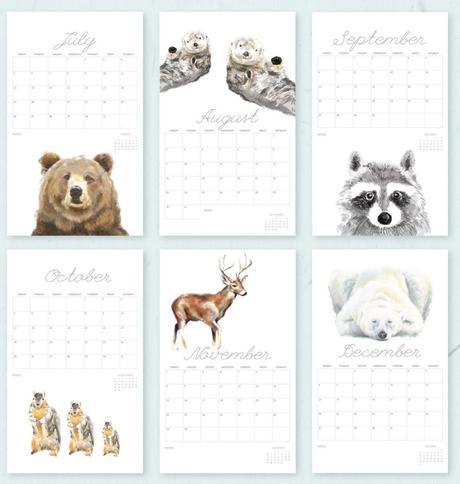 calendrier blanc épuré animaux peinture