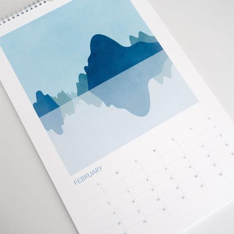 calendrier illustration abstraite montagne lac bleu pastel clemencearoundthecorner